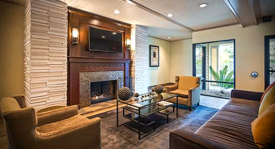 Martinez CA Hotel - lobby picture with seating area and fireplace